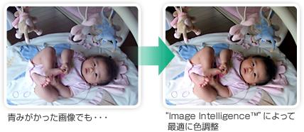 """青みがかった画像でも・・・→""""Image Intelligence™""""(イメージ・インテリジェンス)によって最適に色調整"""